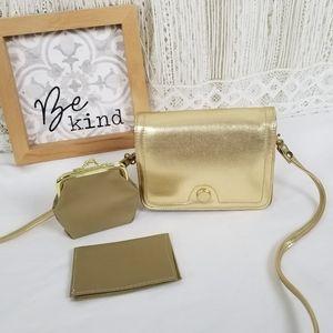 Vintage Smal Metallic Small Bag + Coin Purse Set